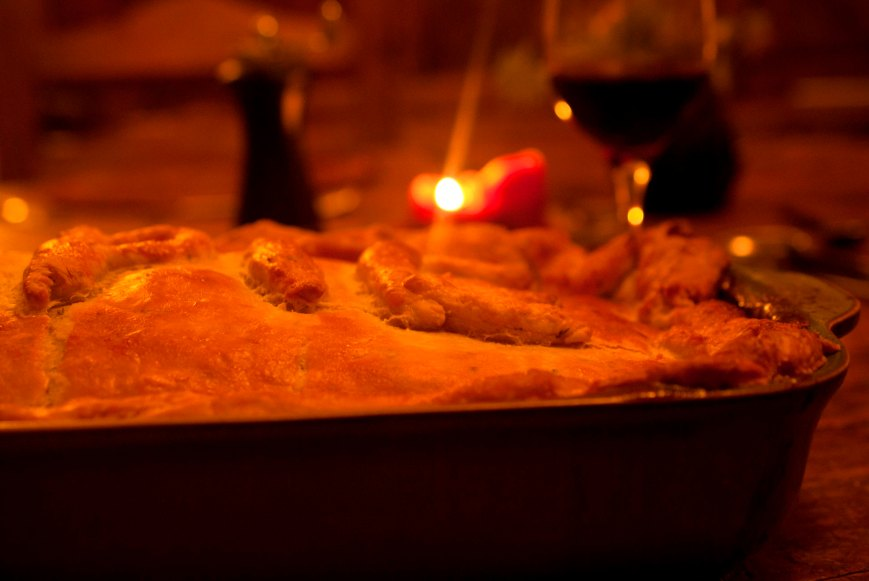 pie and candle