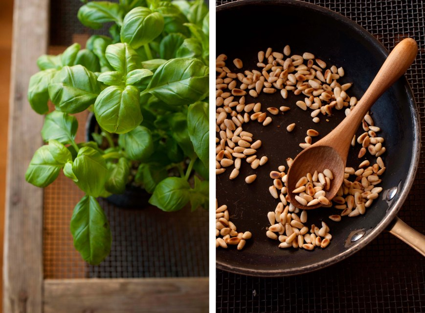basil and pine nuts