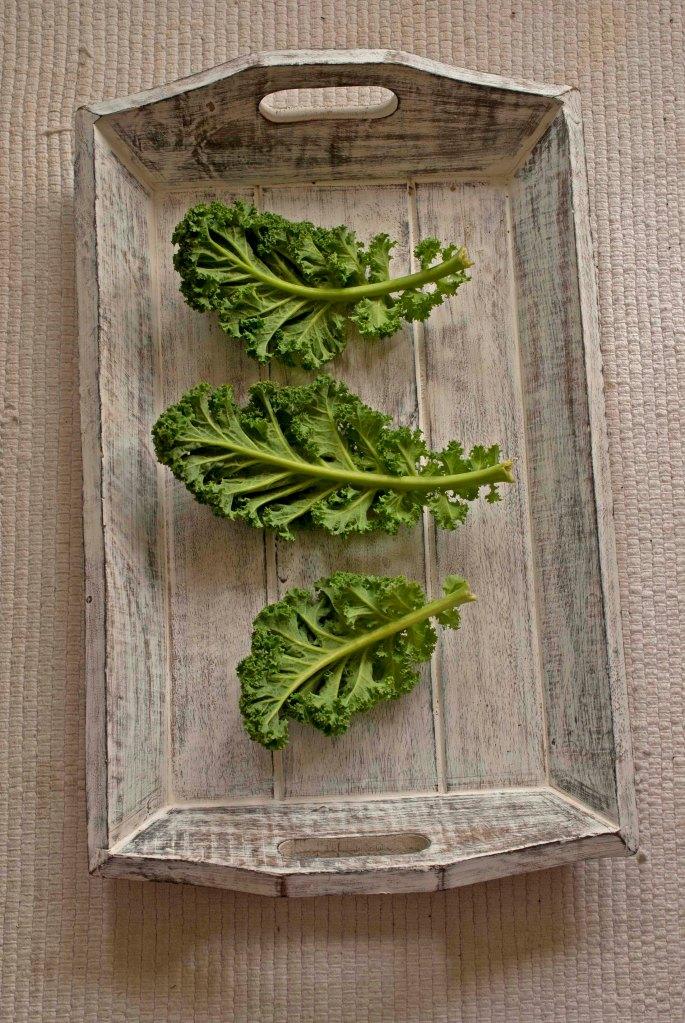 raw kale on tray