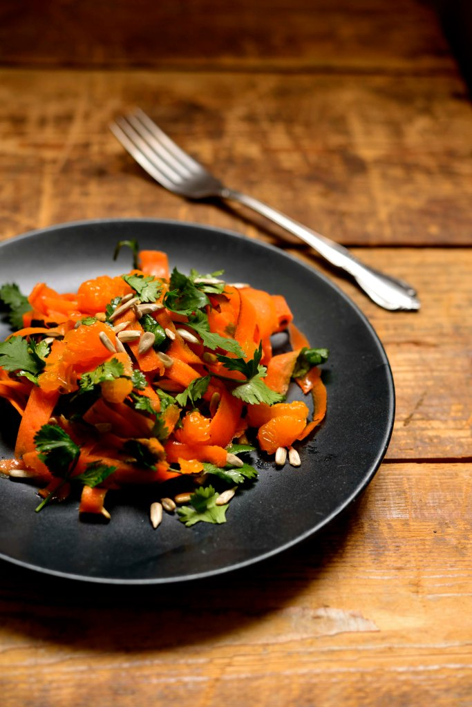 carrot salad with fork